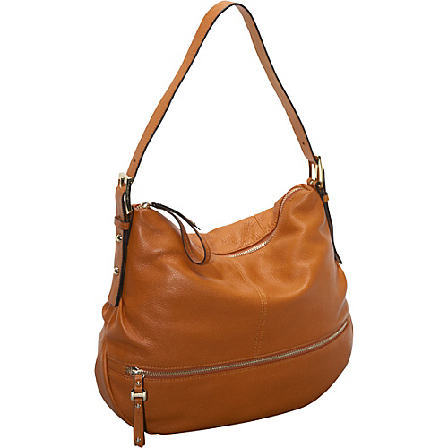 B. Makowsky Burnett Python Embossed Trim N/S Hobo Caramel - B. Makowsky Leather Handbags