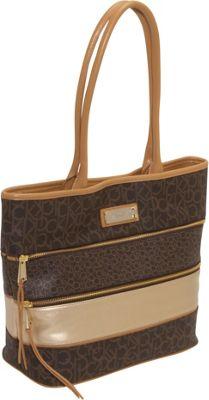 Calvin Klein Colorblock Monogram Tote Brown Calvin Klein Fabric Handbags