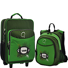 O3 Kids Football Luggage and Backpack Set With Integrated Cooler Green Football