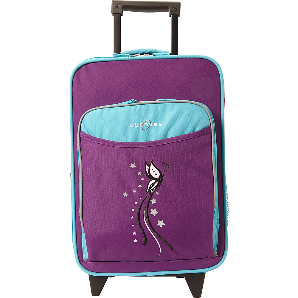 Obersee Kids Butterfly 16 Upright Turquoise Butterfly Obersee Softside Carry On