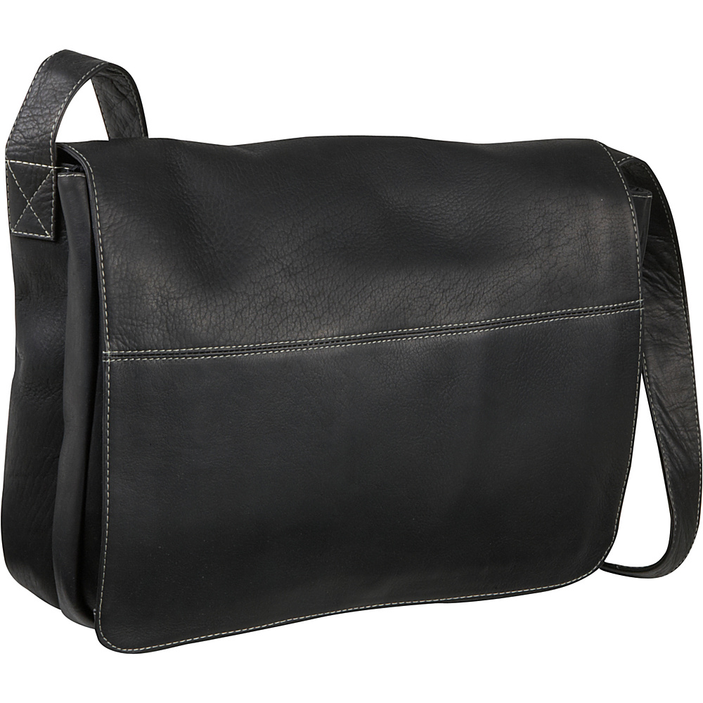 Le Donne Leather Full Flap Computer Messenger - Black - Work Bags & Briefcases, Messenger Bags