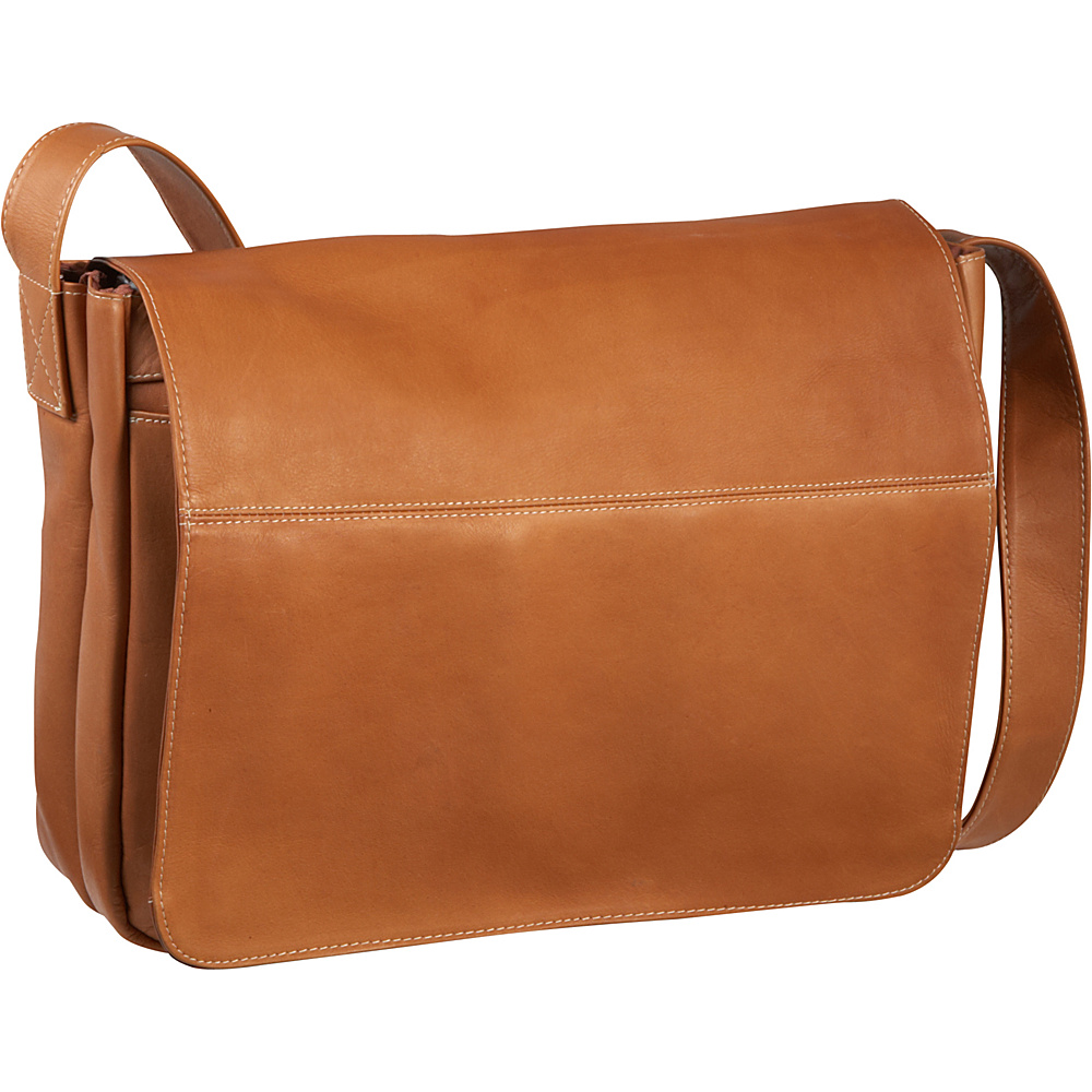 Le Donne Leather Full Flap Computer Messenger - Tan - Work Bags & Briefcases, Messenger Bags