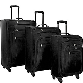 POP 3 Piece Spinner Luggage Set Black