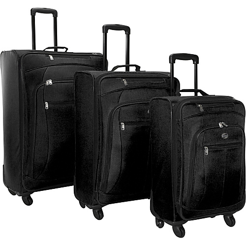 American Tourister POP 3 Piece Spinner Luggage Set Black - American Tourister Luggage Sets