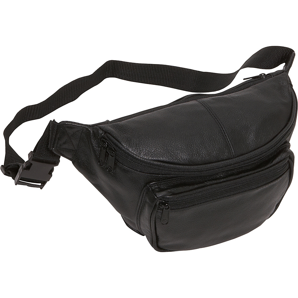 AmeriLeather Large Waist Pouch - Black - Backpacks, Waist Packs