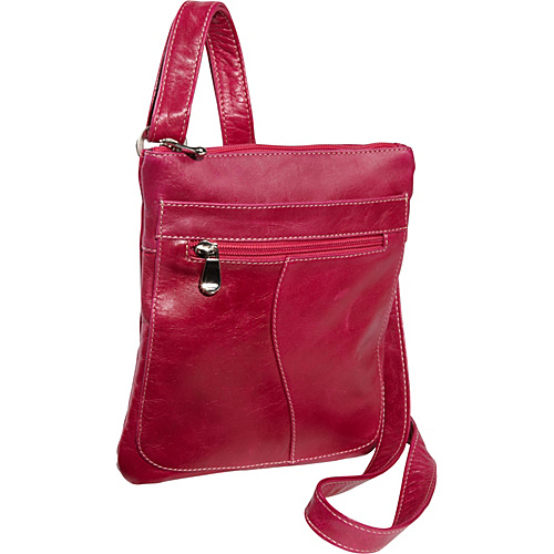 David King & Co. Florentine Slender Shoulder Bag Fuchsia - David King & Co. Leather Handbags