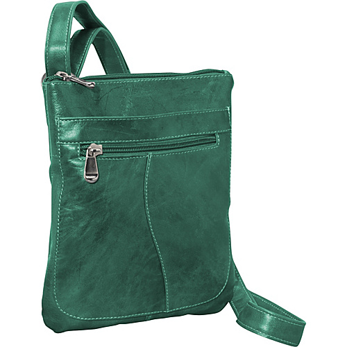 David King & Co. Florentine Slender Shoulder Bag Green - David King & Co. Leather Handbags