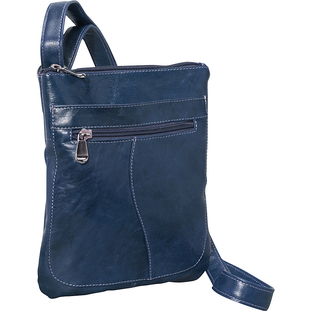 David King & Co. Florentine Slender Shoulder Bag Blue - David King & Co. Leather Handbags - Handbags, Leather Handbags