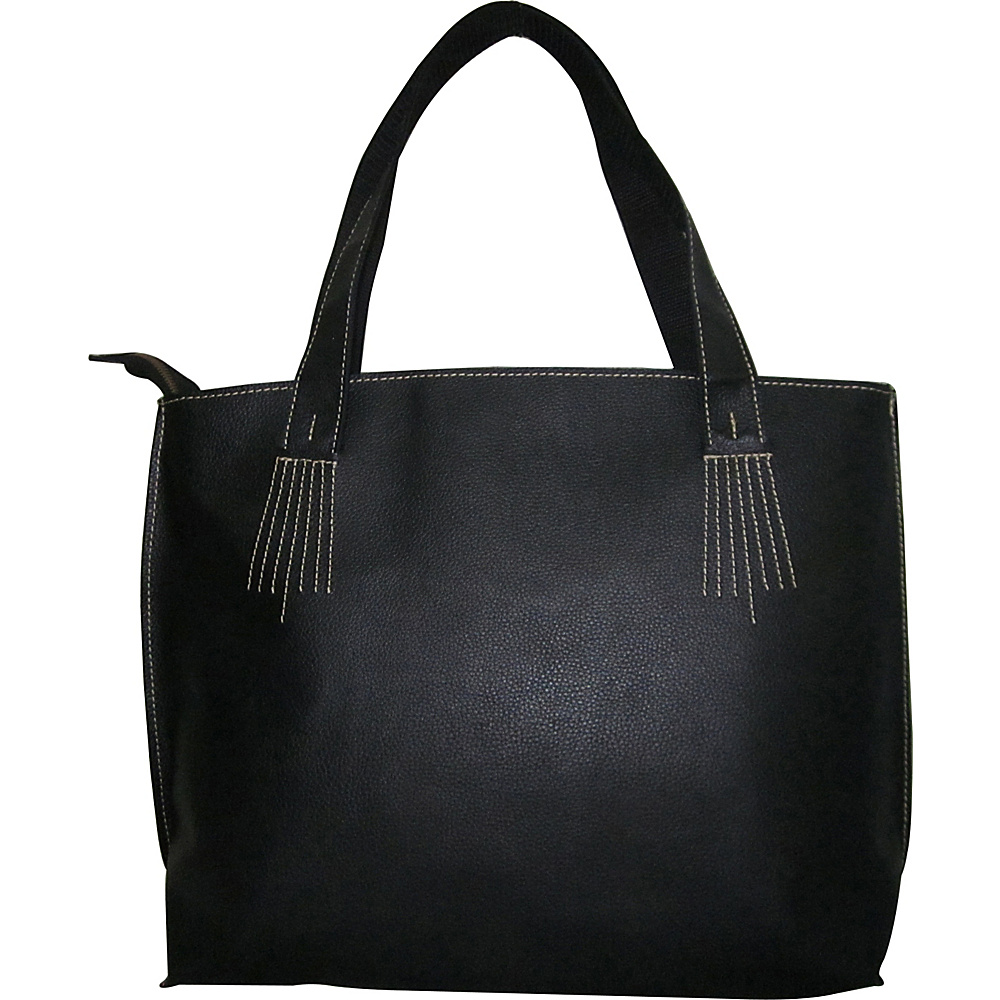 AmeriLeather Boxy Leather Tote - Black - Work Bags & Briefcases, Women's Business Bags