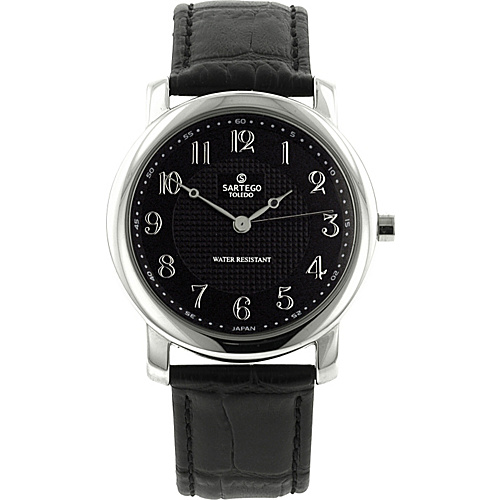 Sartego Toledo Round Face Black Leather Band Quartz Watch Black Dial, Stainless Steel Case with Black Leathe - Sartego Watches