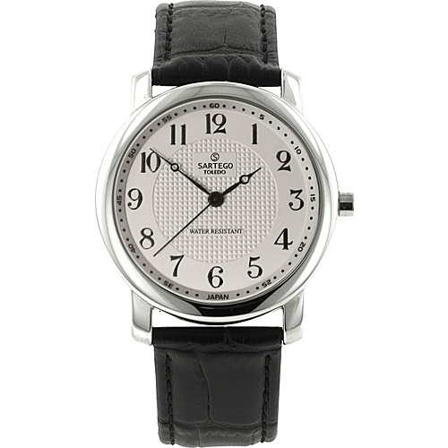 Sartego Toledo Round Face Black Leather Band Quartz Watch White Dial, Stainless Steel Case with Black Leathe - Sartego Watches