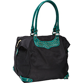 Travel Tote With Studs Black/Teal