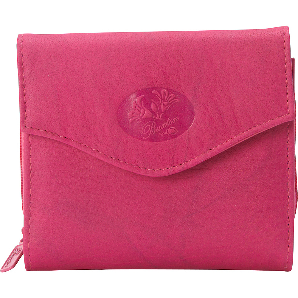 Buxton Heiress Leather Zip Purse Fuchsia Pink - Buxton Womens Wallets - Women's SLG, Women's Wallets