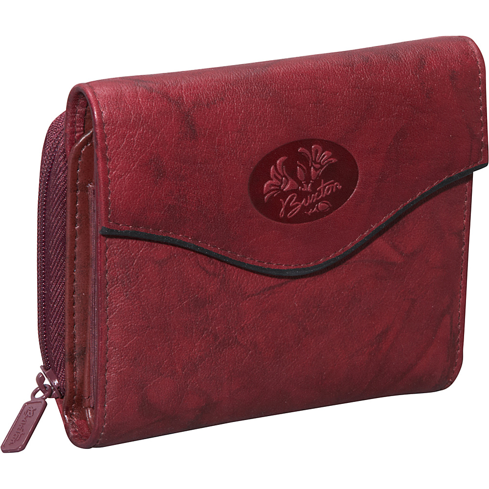 Buxton Heiress Leather Zip Purse Burgundy - Buxton Women's Wallets
