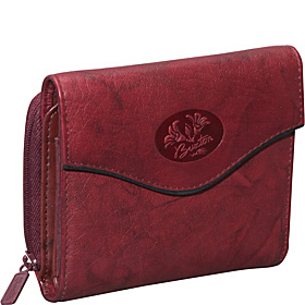 Heiress Leather Zip Purse Burgundy