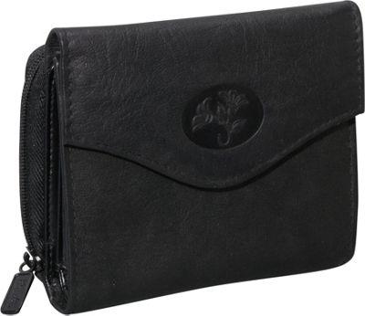 Buxton Heiress Leather Zip Purse Black - Buxton Women's Wallets