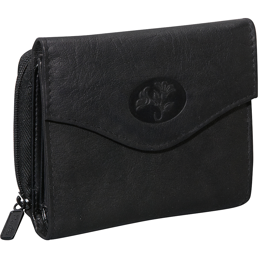 Buxton Heiress Leather Zip Purse Black - Buxton Women's Wallets