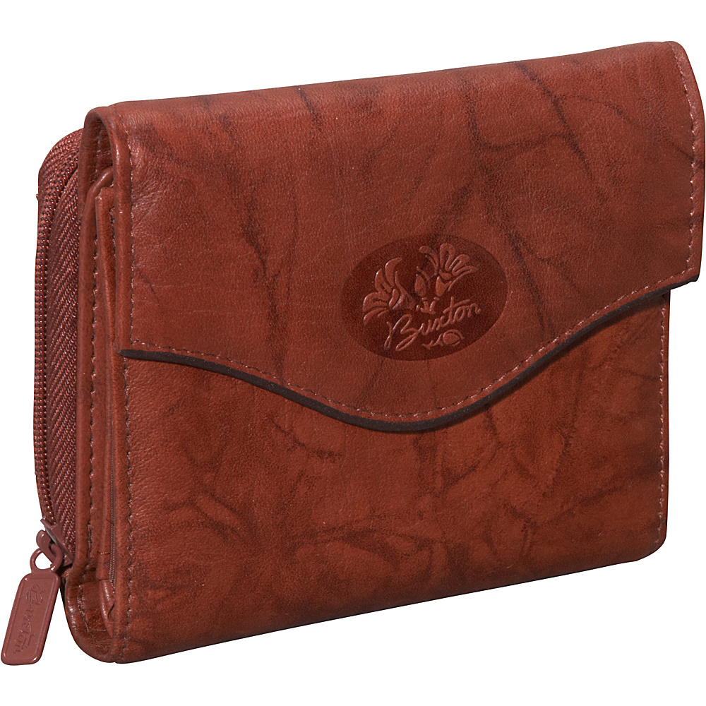 Buxton Heiress Leather Zip Purse Mahogany - Buxton Women's Wallets