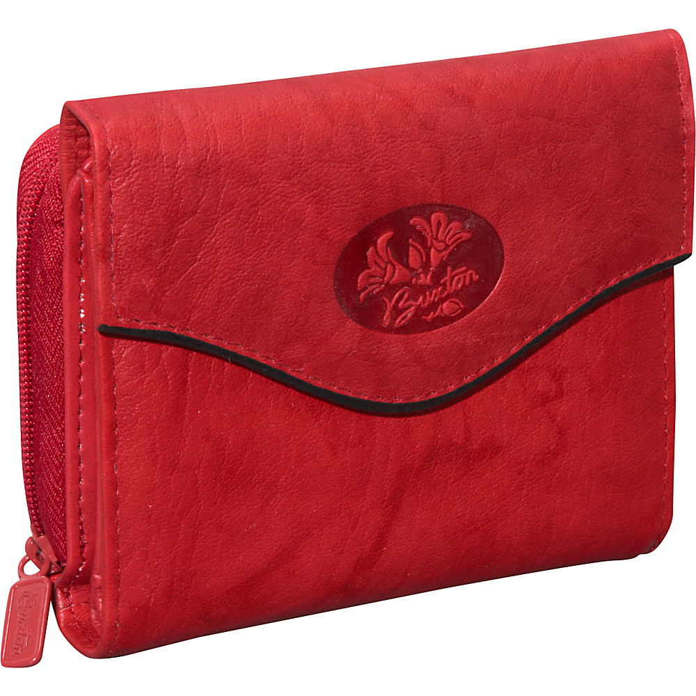 Buxton Heiress Leather Zip Purse Red - Buxton Womens Wallets - Women's SLG, Women's Wallets