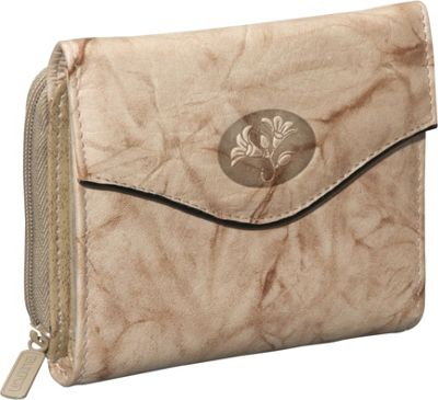Buxton Heiress Leather Zip Purse Taupe - Buxton Women's Wallets