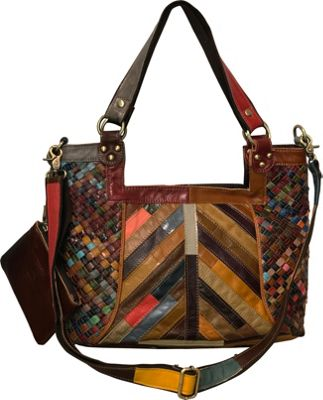 AmeriLeather Hazelle Leather Shoulder Bag Rainbow - AmeriLeather Leather Handbags