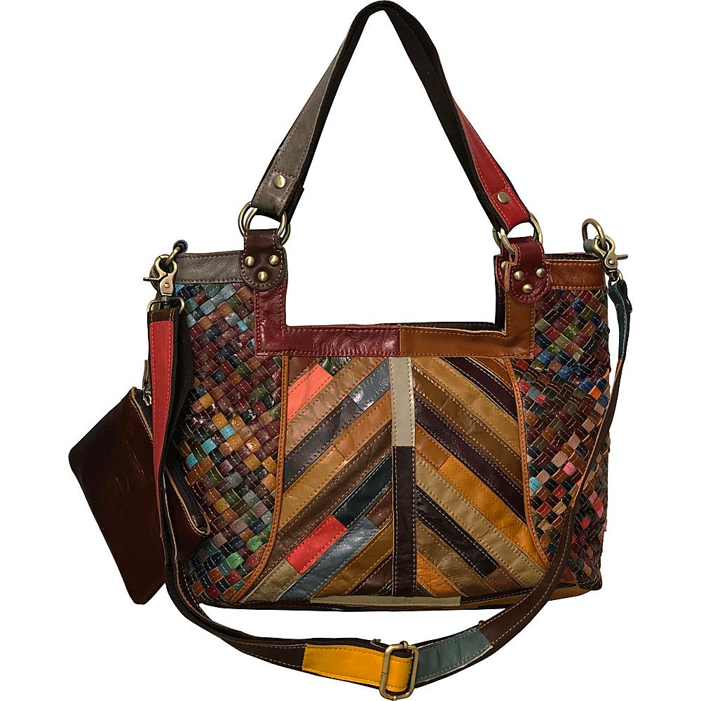 AmeriLeather Hazelle Leather Shoulder Bag Rainbow - AmeriLeather Leather Handbags - Handbags, Leather Handbags
