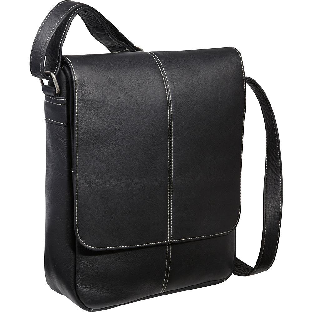 Le Donne Leather Flap Over E-Reader/iPad Bag Black - Le Donne Leather Men's Bags