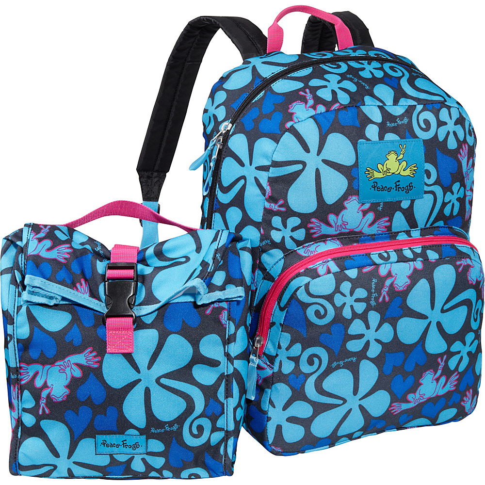 Peace Frogs Peace Frogs Day Trippin' Backpack & Lunch Combo Lava Flow Blue - Peace Frogs Everyday Backpacks
