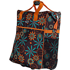 The Big Eazy Rolling Tote Brown Floral