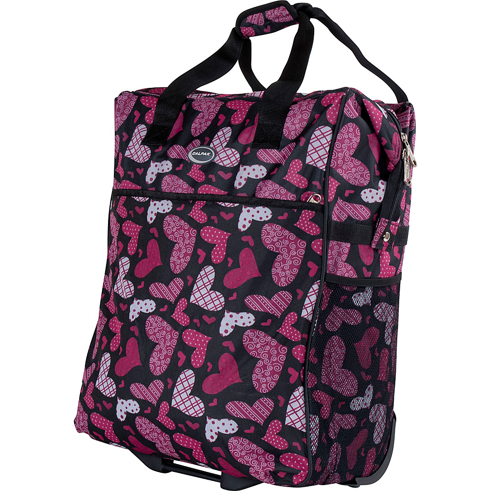 """CalPak The Big Eazy 20"""" Rolling Tote Pink Hearts - CalPak Small Rolling Luggage"""