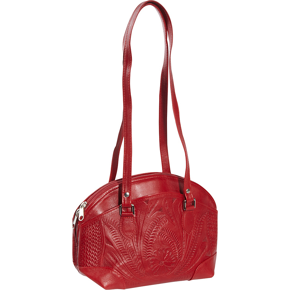 Ropin West Half Moon Handbag Red Ropin West Leather Handbags