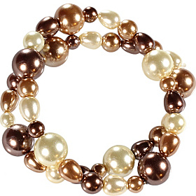 Two Row Natural Colored Round And Baroque Pearl Stretch Bracelet Set Brown