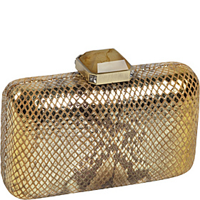 Flat Frame Metallic Python Minaudiere Antique Gold-Orange