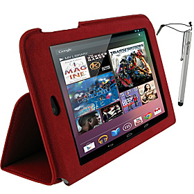 Ultra-Slim Vegan Leather Case & Stylus for Google Nexus 7 Tablet Red