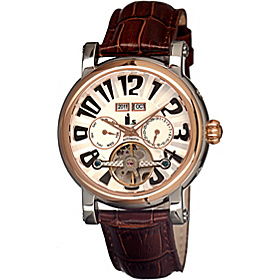 Mechanical Watch Silver Dial; Leather Brown Band
