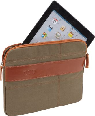 Nuo Canvas Sleeve for iPad & Tablets Olive/Orange - Nuo Electronic Cases