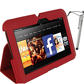 "Ultra Slim Vegan Leather Case w/ Stylus for Kindle Fire HD 7"" Red"