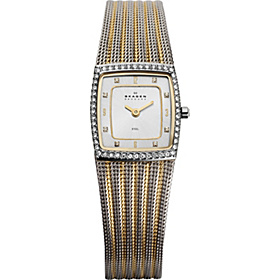 Two Tone Mesh Watch Silver with Gold