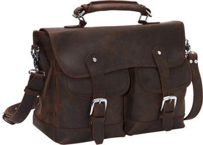 Vagabond Traveler Oil Tanned Leather Messenger Briefcase Dark Brown - Vagabond Traveler Non-Wheeled Business Cases