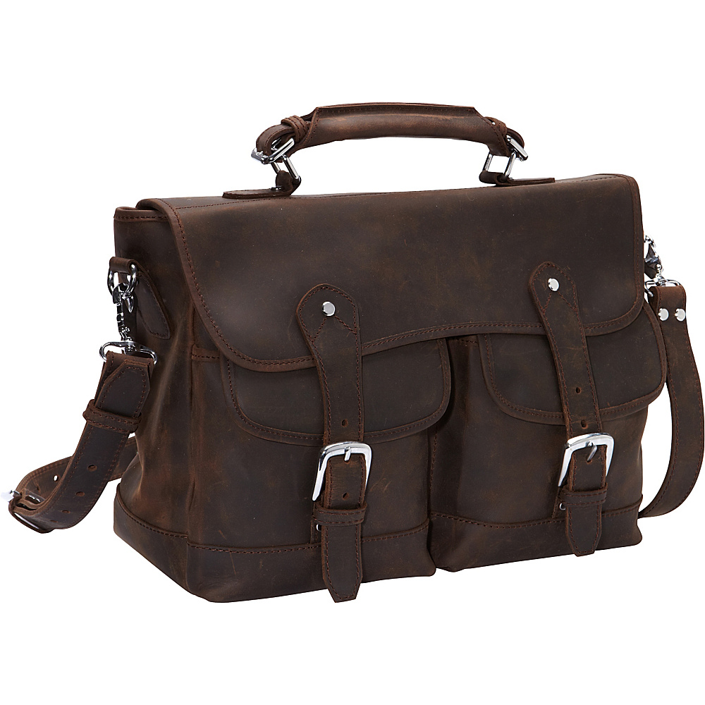 Vagabond Traveler Oil Tanned Leather Messenger Briefcase Dark Brown - Vagabond Traveler Non-Wheeled Business Cases - Work Bags & Briefcases, Non-Wheeled Business Cases
