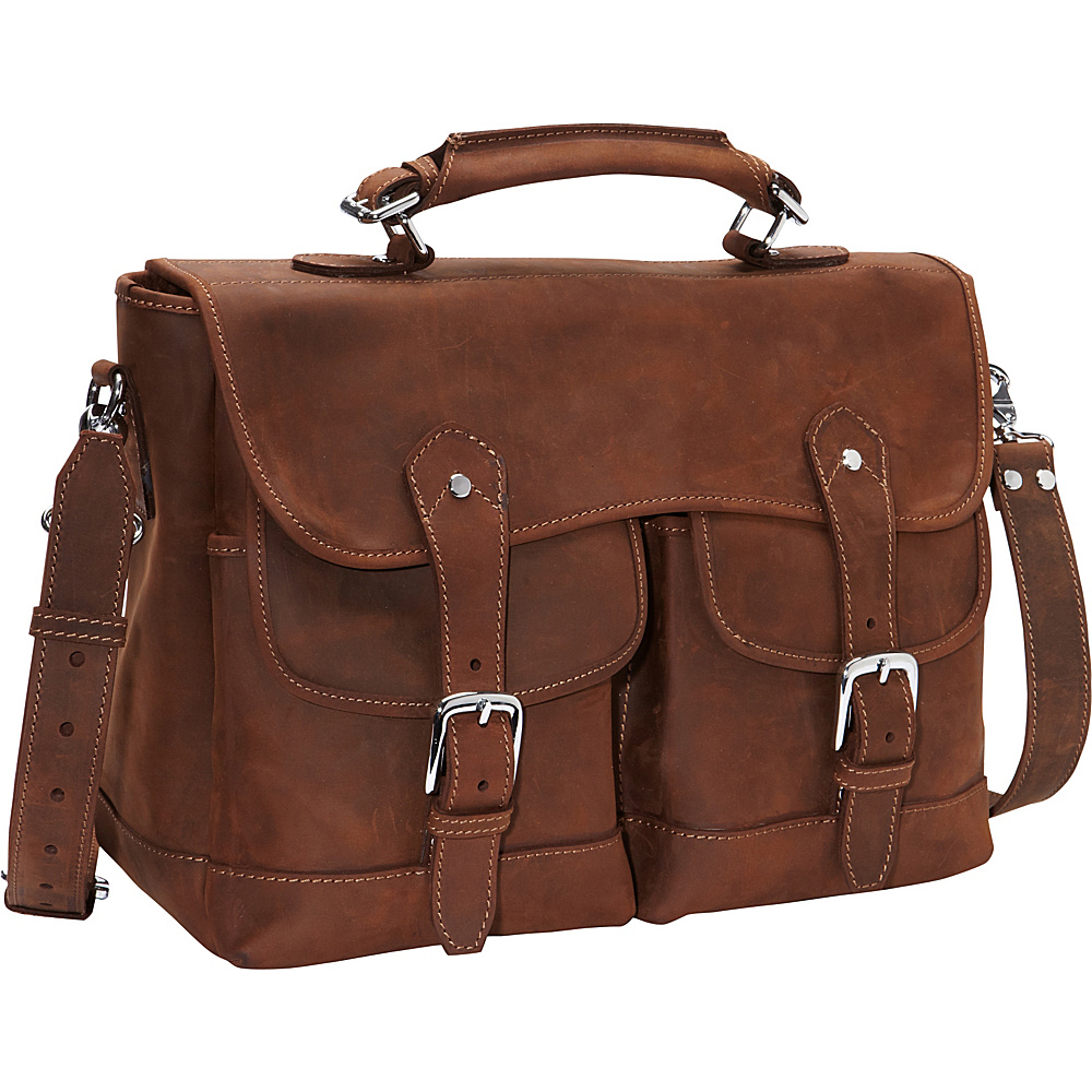 Vagabond Traveler Oil Tanned Leather Messenger Briefcase Vintage Brown - Vagabond Traveler Non-Wheeled Business Cases - Work Bags & Briefcases, Non-Wheeled Business Cases