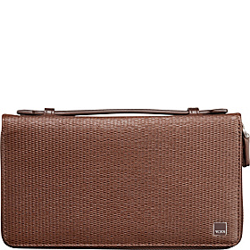 Monaco Double Zip Around Clutch Brown