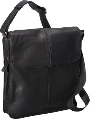 Derek Alexander NS Flap Shoulder Bag Black - Derek Alexander Leather Handbags