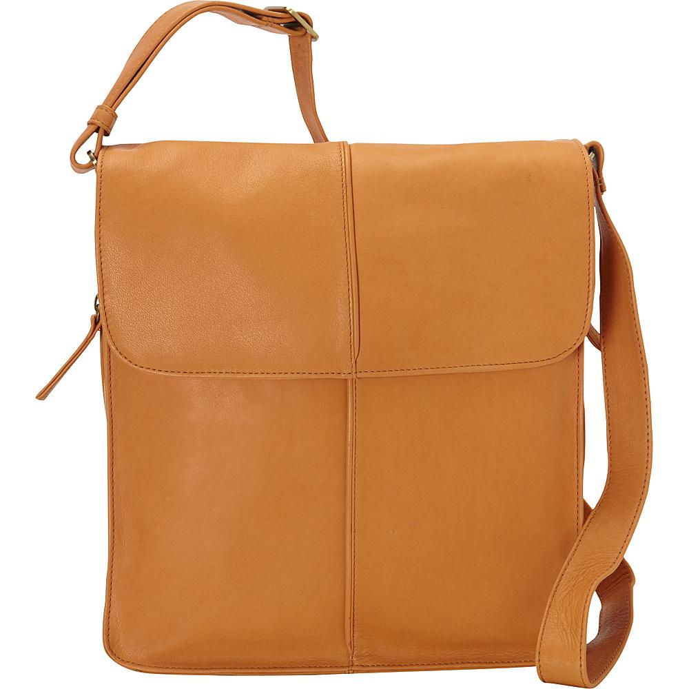 Derek Alexander NS Flap Shoulder Bag Buff - Derek Alexander Leather Handbags - Handbags, Leather Handbags