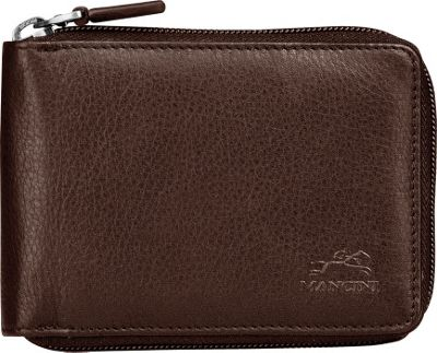Mancini Leather Goods San Diego Collection: Mens Zippered Wallet with Removable Passcase Brown - Mancini Leather Goods Men's Wallets
