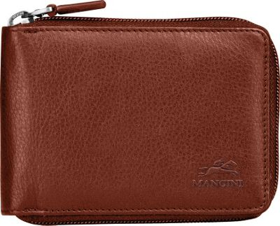 Mancini Leather Goods San Diego Collection: Mens Zippered Wallet with Removable Passcase Cognac - Mancini Leather Goods Men's Wallets