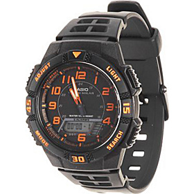 Men's Slim Solar Multi-Function Analog-Digital Watch  Black