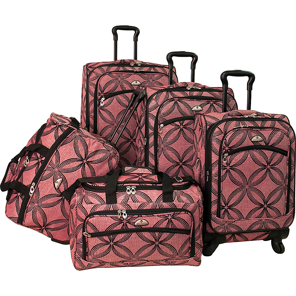American Flyer Clover Metallic 5 Piece Spinner Set Pink - American Flyer Luggage Sets