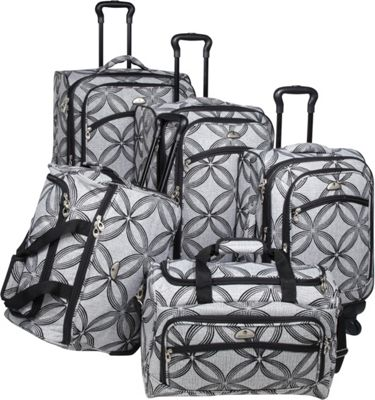 American Flyer Clover Metallic 5 Piece Spinner Set Black Grey - American Flyer Luggage Sets