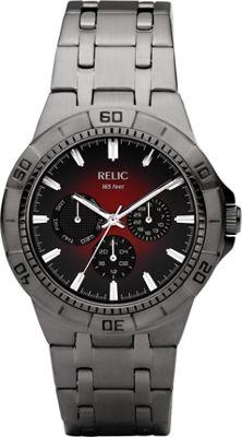 Relic Men's  inchGarrett inch Gunmetal Bracelet w/ Red Dial Gunmetal - Relic Watches